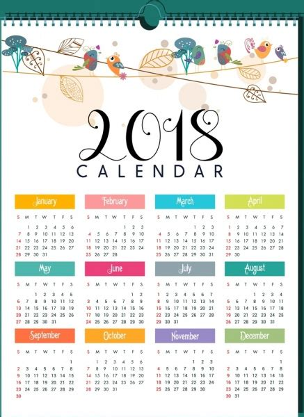 Calendar 2018 Illustrator 2018 Calendar Template Bird Leaves Decor Free