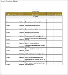 construction material list template punch list template free sle templates sle snag list