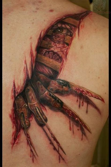 claw tattoo ripped skin freddy krueger claw