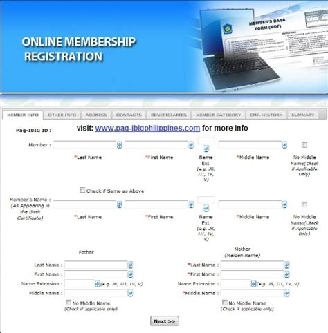 pag ibig online registration pag ibig membership application form