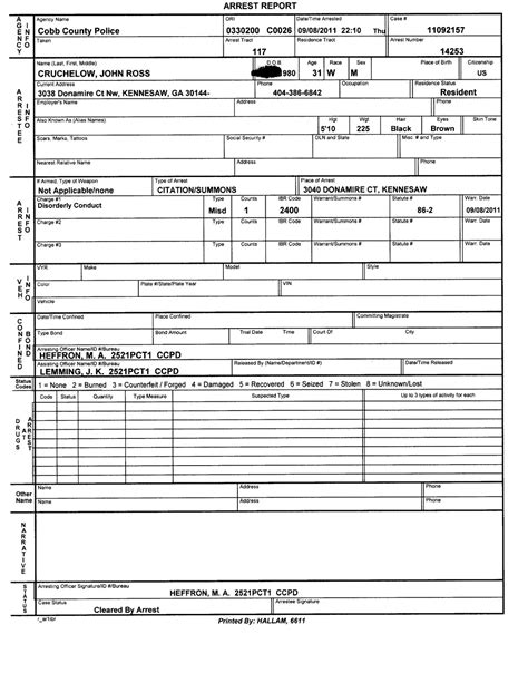 Police Report Template E Commercewordpress Arrest Report Template