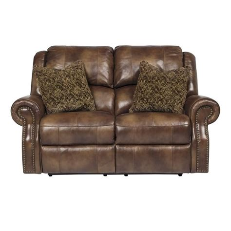 ashley leather loveseat recliner ashley walworth leather power reclining loveseat in auburn