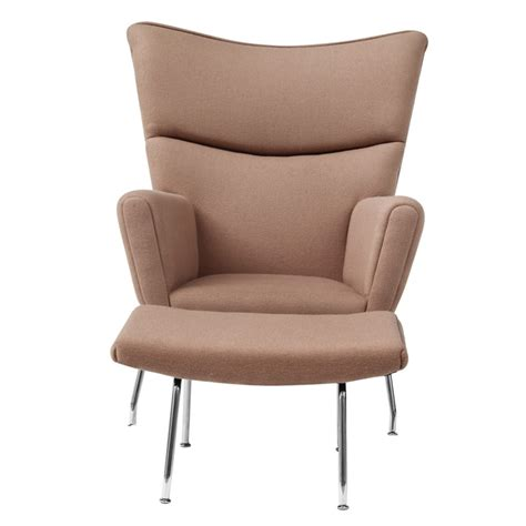 Wing Chair Ottoman Wing Chair And Ottoman In Wool Khaki Accent Chairs Fmi1202 Kh 4