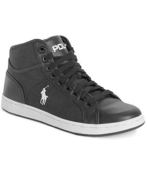 black polo sneakers polo ralph trevose mid sneakers in black for lyst