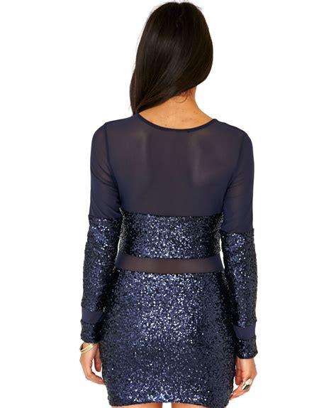 Navy Chevy Mini Dress B missguided fancisca sequin mesh panel mini dress in navy in blue navy lyst