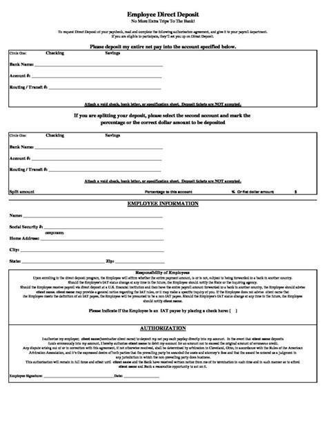 direct deposit form direct deposit form workforce