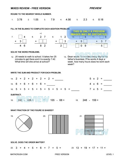 Mixed Math Worksheets by Worksheets Help Pages And Books By Math Crush Free