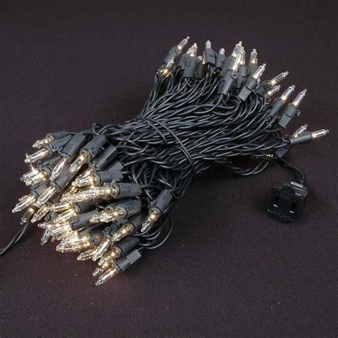 clear christmas mini lights set 100 light black wire 50