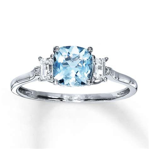 Aquamarine Rings by Aquamarine Ring With Sapphires Diamonds 10k White Gold