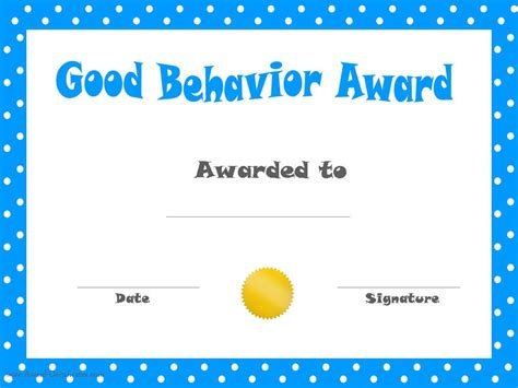 certificate template for children behavior printable certificates
