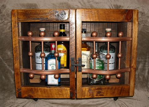 reclaimed liquor cabinet wall mounted bar