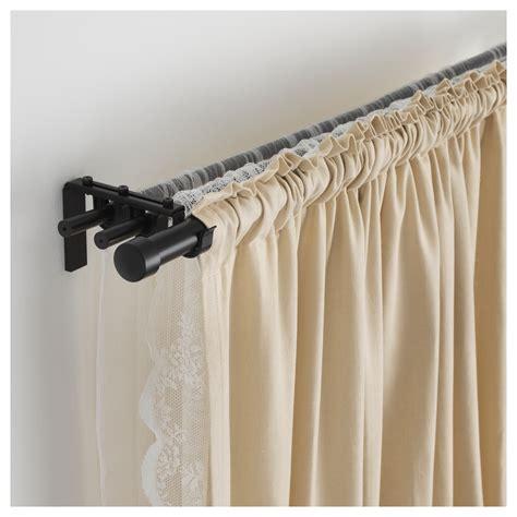black curtain rods hugad curtain rod black 120 210 cm ikea