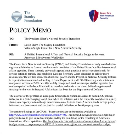 Change Policy Template by 15 Policy Memo Templates Free Sle Exle Format