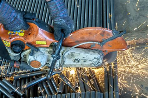 worker cutting steel pipe using metal stock photo 380191102 gas powered metal cut saw concrete stock photo image 55268956