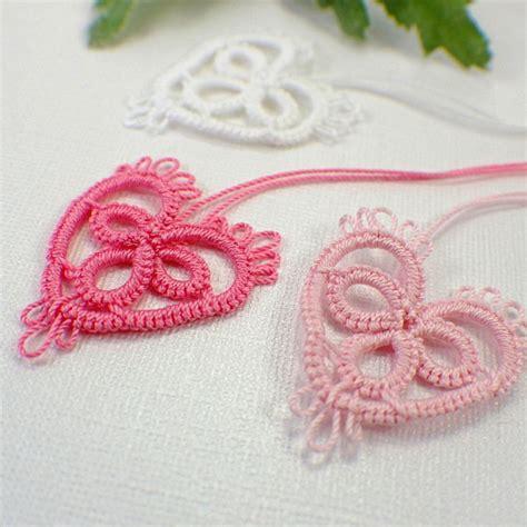 etsy tatting pattern pink heart tatting motif embellishment applique lace white