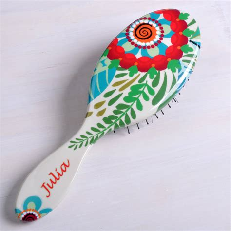Pattern Brush C | personalised flower pattern hair brush by giant sparrows