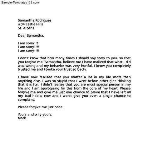 Apology Letter To Gf Apology Letter To After Fight Sle Templates