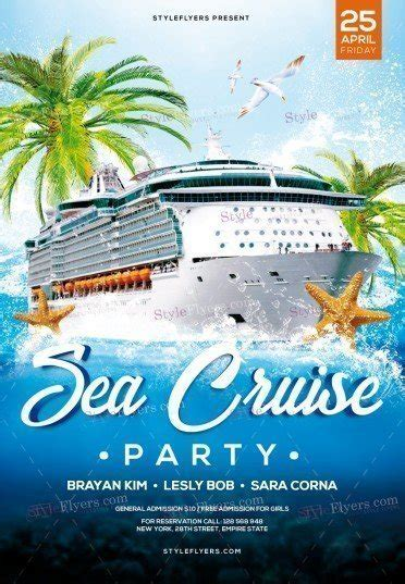 Sea Cruise Party Psd Flyer Template 23123 Styleflyers Free Cruise Ship Flyer Template