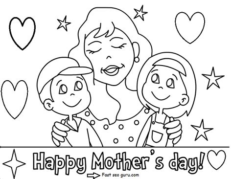Printable Happy Mothers Day With Her Children Coloring Pages Coloring Pages Of Children S Day