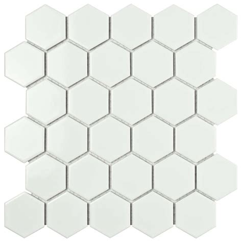 1 Inch White Hexagon Gloss Floor Tile - merola tile metro hex 2 in glossy white 10 1 2 in x 11