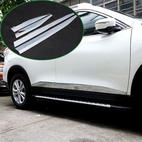Garnis Depan X Trail 2015 Chrome fit for 14 2015 nissan rogue x trail chrome door side moulding trim garnish