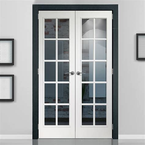 Glass And Doors Portobello White Door Pair With Clear Safety Glass Prefinished