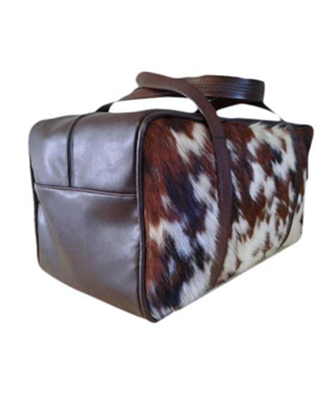 Cowhide Bags Cowhide Duffel Bag Brown White Rustic Artistry