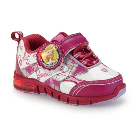 girls light up tennis shoes barbie s pink white glitter light up athletic