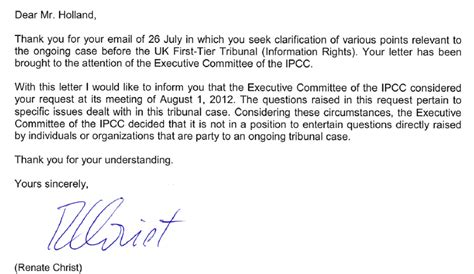 thank you letter after audit ipcc s secret letter 171 climate audit