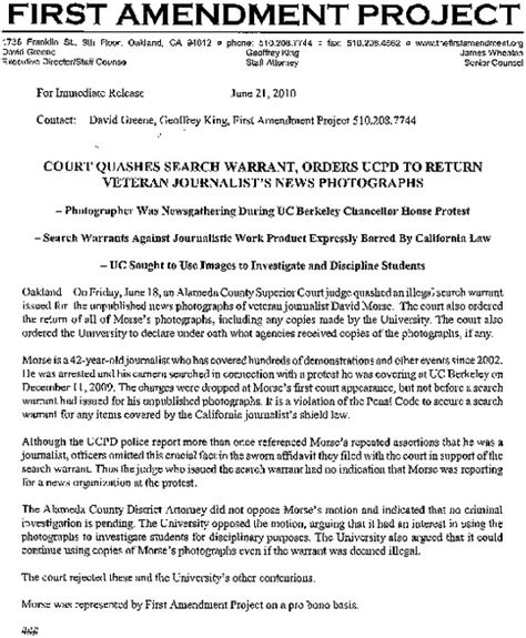 King County Court Warrant Search Court Quashes Search Warrant Orders Ucpd To Return Indybay Journalist S News