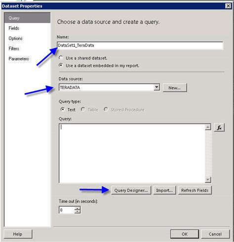 sql server reporting services report with teradata data