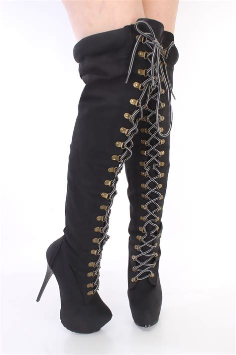black lace up thigh high platform boots faux leather