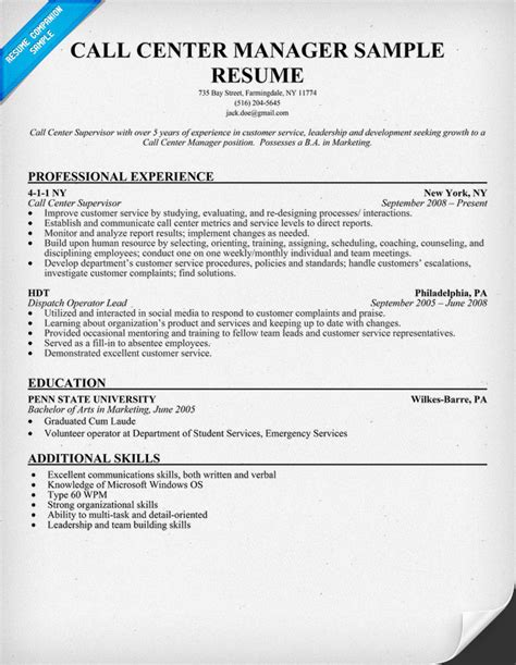 Resume Call Center Objective Careenduyw Customer Service Manager Resume Sample Templates