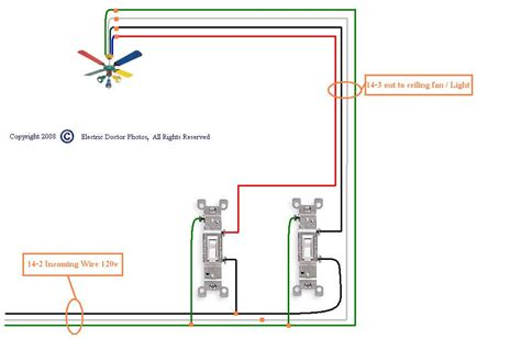 wiring a ceiling fan with two switches wiring diagram