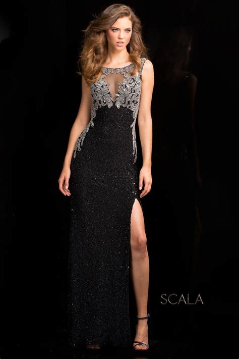 Mm Slkalla Dress scala 48687 beaded prom gown with illusion novelty