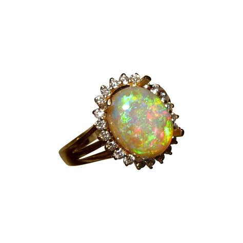 colorful opal and halo ring flashopal