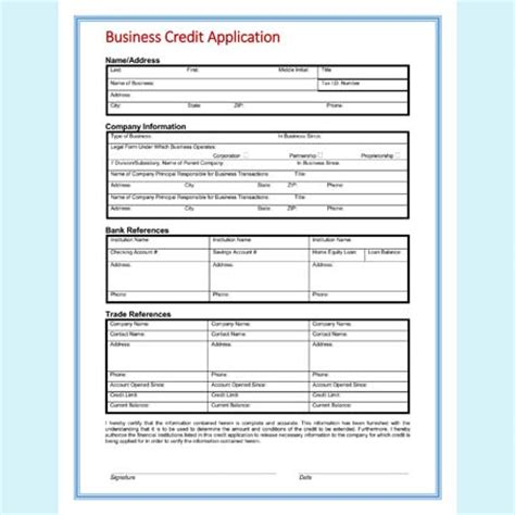 business credit application template free 13 credit application form templates and formats for word