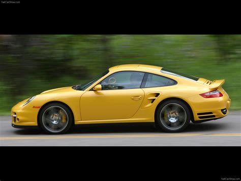 yellow porsche side view 2007 yellow porsche 911 turbo wallpapers