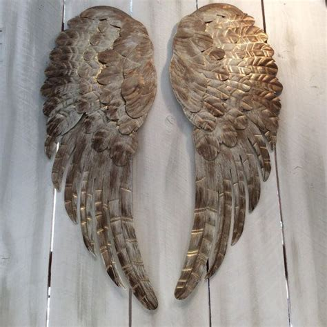 Keramik Large Shabby large metal wings wall decor distressed gold ivory