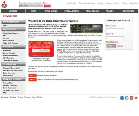 code for mitsubishi radio mitsubishi radio code portal eric medine eric medine