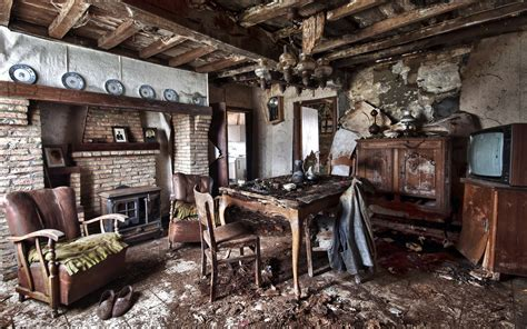 Open Farmhouse Floor Plans by Interior Old Table Armchair Room Design Ruins Apocalyptic