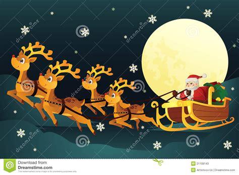 imagenes de santa claus y los renos trineo del montar a caballo de santa con los renos