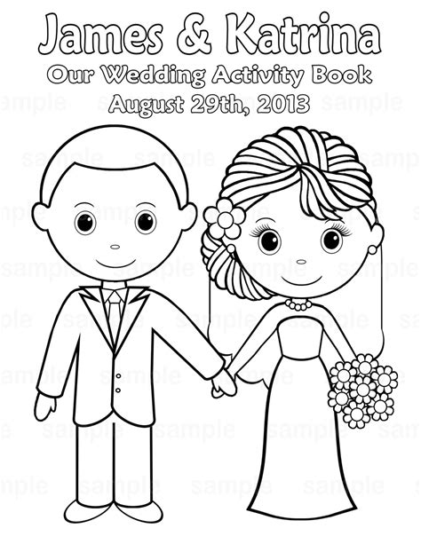 coloring book wedding printable personalized wedding coloring activity by