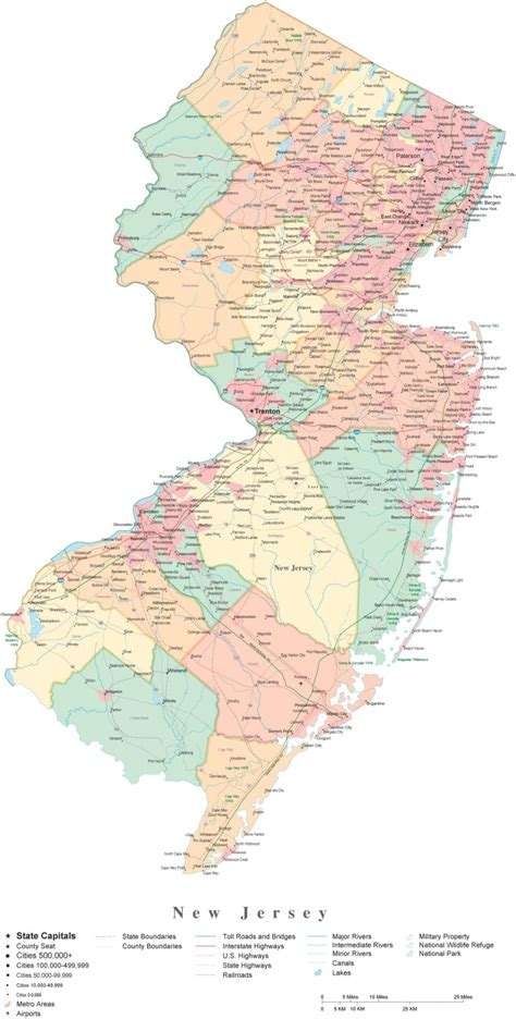 map of new jersey new jersey county map with cities afputra