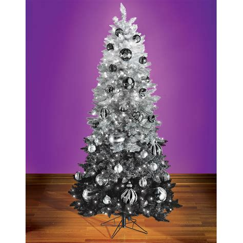 the black ombr 233 decorated christmas tree hammacher schlemmer