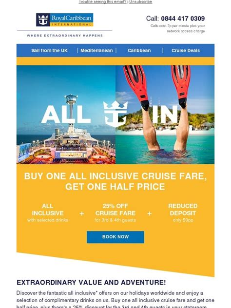 royal caribbean buy one all inclusive cruise fare get one half price milled