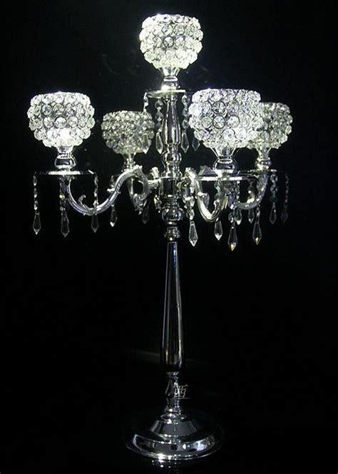 Where Can I Buy Cheap Home Decor by H76cm 5branch Silver Metal Floor Weddingcandelabra Crystal