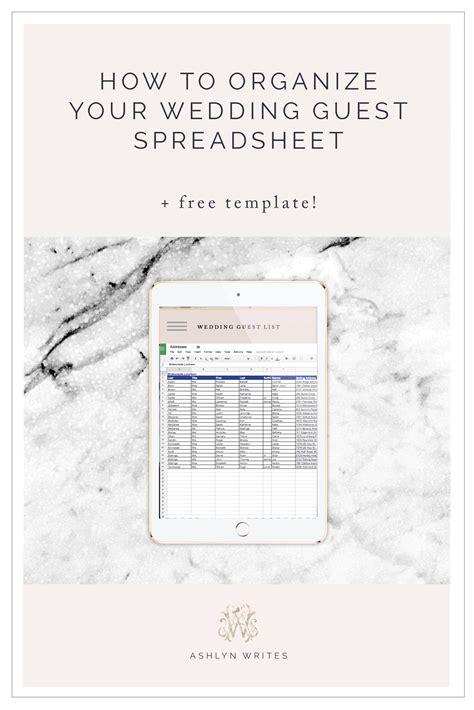 wedding guest spreadsheet free ashlyn writeshow to organize a wedding guest list spreadsheet free template