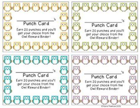 behavior reward card template owl punch cards positive behavior incentive program to