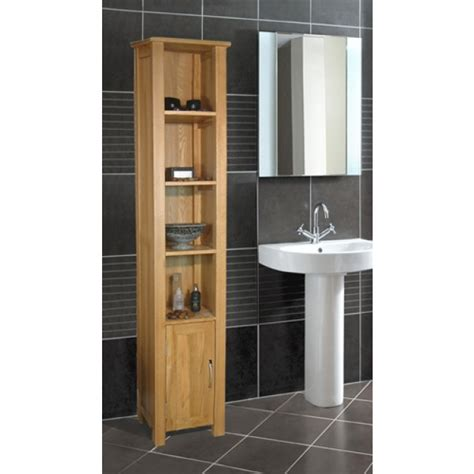 tall bathroom shelving units mobel oak tall open bathroom storage unit click oak
